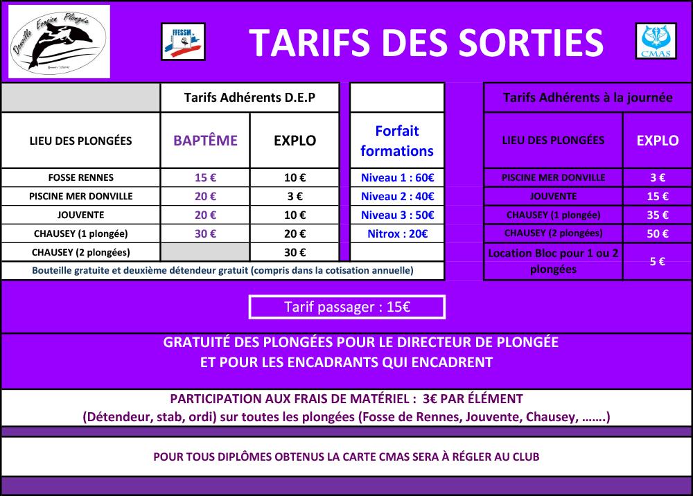 tarifs des sorties 2016/2017